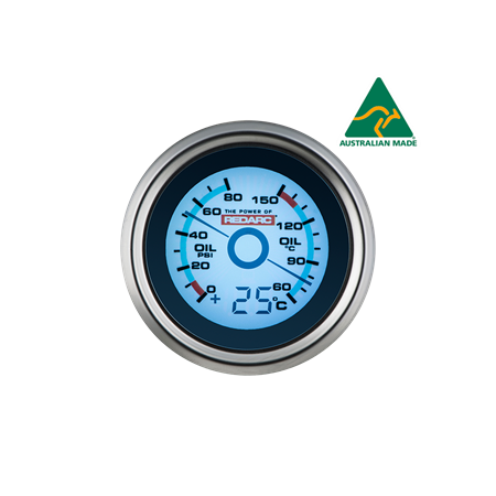 Oil Pressure & Oil Temperature 52mm Gauge with optional temperature display